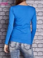 Niebieska gładka bluzka ze sznurowanym dekoltem i troczkami                                   zdj.                                  4