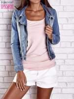 Niebieska jeansowa kurtka o kroju ramoneski                                  zdj.                                  1