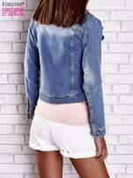 Niebieska jeansowa kurtka o kroju ramoneski                                  zdj.                                  5