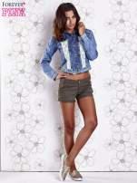 Niebieska jeansowa kurtka z koronkowymi wstawkami                                  zdj.                                  5
