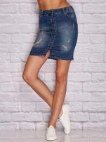Niebieska jeansowa spódnica z przetarciami                                  zdj.                                  1
