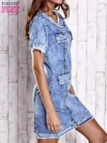 Niebieska jeansowa sukienka z surowym wykończeniem                                  zdj.                                  3