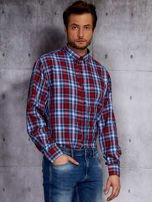 Niebieska koszula męska w czerwoną kratę PLUS SIZE                                  zdj.                                  1