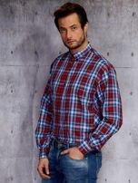 Niebieska koszula męska w czerwoną kratę PLUS SIZE                                  zdj.                                  3
