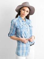 Niebieska koszula w kratkę z podwijanymi rękawami                                  zdj.                                  3
