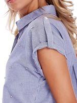 Niebieska koszula w paski z aplikacją                                  zdj.                                  5