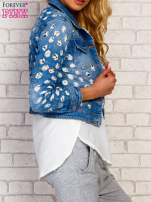 Niebieska kurtka jeansowa z koronką                                                                          zdj.                                                                         3
