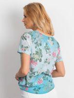 Niebieska kwiatowa bluzka z paseczkami                                  zdj.                                  3