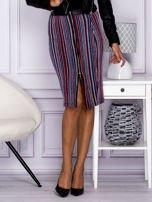 Niebieska pasiasta spódnica midi z zipem                                  zdj.                                  1
