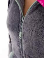 Niebieska polarowa bluza miś z kapturem z uszkami