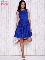Niebieska rozkloszowana sukienka w groszki                                                                          zdj.                                                                         2
