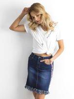 Niebieska spódnica jeansowa z lampasami                                  zdj.                                  1