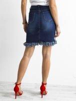 Niebieska spódnica jeansowa z lampasami                                  zdj.                                  2