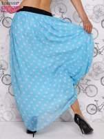 Niebieska spódnica maxi w szare grochy                                  zdj.                                  5