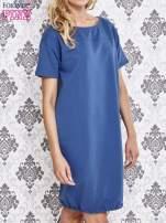 Niebieska sukienka dresowa ze ściągaczem na dole                                  zdj.                                  3