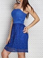 Niebieska sukienka koktajlowa z ażurowym dołem                                  zdj.                                  3