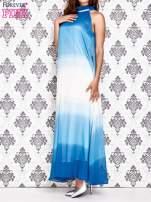 Niebieska sukienka maxi z wiązaniem na plecach                                  zdj.                                  3