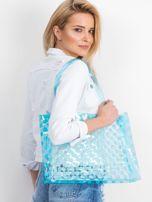 Niebieska transparentna torba w grochy                                  zdj.                                  1