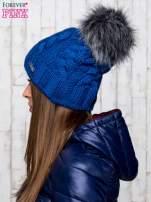 Niebieska wełniana czapka z pomponem                                  zdj.                                  2