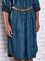 Niebieska zamszowa sukienka z rozcięciami po bokach                                  zdj.                                  6