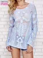 Niebieski ażurowy sweterek mgiełka                                                                          zdj.                                                                         1