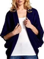 Niebieski dziergany sweter typu otwarty kardigan                                  zdj.                                  4
