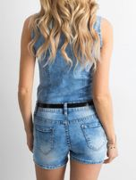 Niebieski jeansowy kombinezon z koronką                                  zdj.                                  2