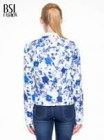 Niebieski kwiatowy żakiet chanelka zapinany na haczyk                                  zdj.                                  4