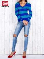 Niebieski sweter w paski                                   zdj.                                  2