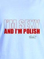 Niebieski t-shirt damski I'M POLISH by Markus P                                  zdj.                                  2