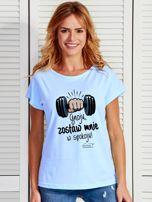 Niebieski t-shirt damski ZOSTAW MNIE by Markus P                                  zdj.                                  1