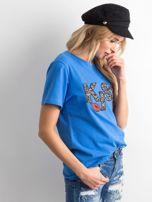 Niebieski t-shirt z aplikacją                                  zdj.                                  3