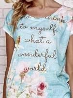 Niebieski t-shirt z nadrukiem przyrody                                                                          zdj.                                                                         5