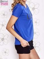Niebieski t-shirt z napisem LIU J❤                                  zdj.                                  3