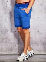 Niebieskie dresowe szorty męskie z troczkami                                  zdj.                                  1
