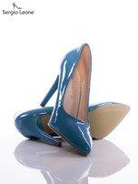 Niebieskie lakierki Sergio Leone na cienkich szpilkach                                  zdj.                                  4