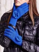 Niebieskie rękawiczki z kokardką i długim ściągaczem                                  zdj.                                  1