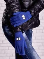 Niebieskie rękawiczki z nadrukiem oczu                                                                          zdj.                                                                         3