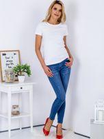 Niebieskie spodnie jeansowe skinny z przetarciami                                  zdj.                                  4