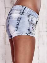 Niebieskie szorty jeansowe z dżetami                                  zdj.                                  6