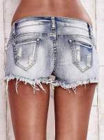 Niebieskie szorty jeansowe z kryształkami                                  zdj.                                  2