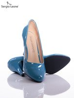 Niebieskie szpilki Sergio Leone z lakierowaną cholewką                                  zdj.                                  4
