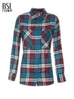 Niebiesko-czerwona bawełniana dłuższa koszula w kratę                                  zdj.                                  2