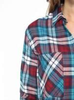 Niebiesko-czerwona bawełniana dłuższa koszula w kratę                                                                          zdj.                                                                         12