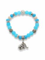 Niebiesko  - srebrna Bransoletka koralikowa                                  zdj.                                  1