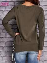Oliwkowa bluza z wiązaniami                                   zdj.                                  2