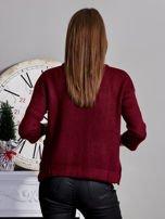 Otwarty sweter z kieszeniami bordowy                                  zdj.                                  2