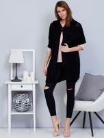 Otwarty sweter z warkoczowym wzorem i kapturem czarny                                  zdj.                                  4