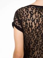 Panterkowy t-shirt z suwakiem z przodu i koronkowym tyłem                                                                          zdj.                                                                         10