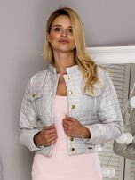 Pikowana krótka kurtka na guziki beżowa                                  zdj.                                  1